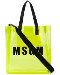 MSGM - Pvc Branded Shopper Tote - Lyst