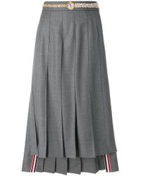 Thom Browne - Below Knee Dropped Back Pleated Skirt With Belt Applique In Super 120's Twill - Lyst