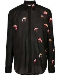 Saint Laurent - Sheer Flamingo Embroidery Shirt - Lyst