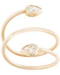 Zoe Chicco - 14kt Yellow Gold Two Pear Diamonds Wrap Ring - Lyst