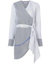 TOME - Asymmetric Wrap Striped Blouse - Lyst