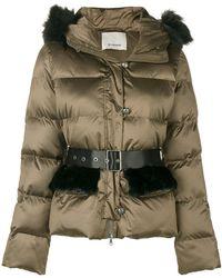 Pinko - Fur Hood Trim Padded Jacket - Lyst