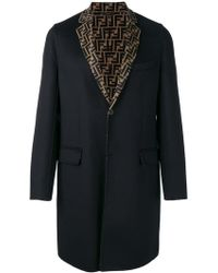 Fendi - Ff Motif Single-breasted Coat - Lyst