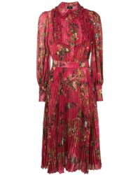 Elisabetta Franchi - Floral Pleated Midi Dress - Lyst