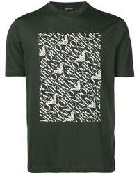 Emporio Armani - Repeat Logo Print T-shirt - Lyst