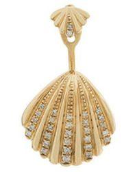 Yvonne Léon - 18kt Gold And Diamond Seashell Earring - Lyst