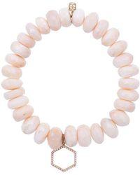 Sydney Evan - 14kt Gold Beaded Bracelet With Diamond Hexagon Charm - Lyst