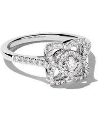 De Beers - 18kt White Gold Enchanted Lotus Single Motif Diamond Ring - Lyst