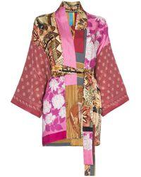 Rianna + Nina - Short Multi Floral Horse Print Silk Kimono Robe - Lyst