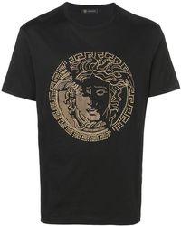 92681084 Versace Medusa Studded Cotton Jersey T-shirt in Black for Men - Lyst