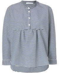 Peter Jensen - Collarless Striped Shirt - Lyst