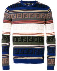 Fendi - Logo Stripe Sweater - Lyst