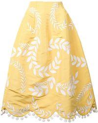 Oscar de la Renta - Embroidered A-line Skirt - Lyst