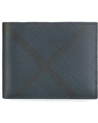 Burberry - London Check And Leather Bifold Wallet - Lyst