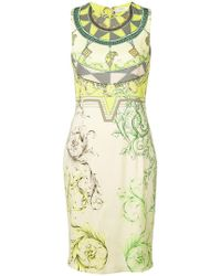 bbaf62896fcf Lyst - Versace Ruched Printed Jersey Dress