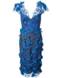 Marchesa notte - Embellished V-neck Dress - Lyst