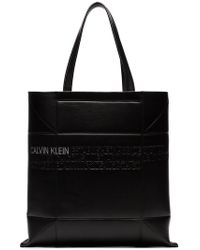 CALVIN KLEIN 205W39NYC - Black Small Geometric Leather Tote Bag - Lyst