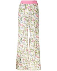 Twin Set - Floral Flared Trousers - Lyst