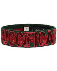 78f00406a85 Gucci - Green And Red Sequin Fication Headband - Lyst