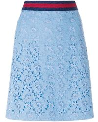 Gucci - Flower Lace Web Skirt - Lyst