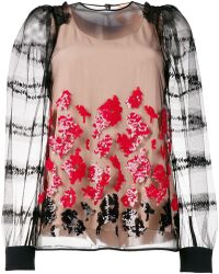 f8523eb01 RED Valentino Layered Sheer Gold Foil Star Shirt in Black - Lyst