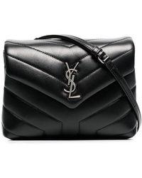 802667964d Saint Laurent - Black Monogram Detail Quilted Leather Bag - Lyst