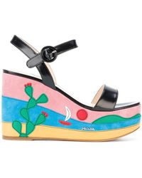 Prada - Mexico Appliqué Platform Sandals - Lyst