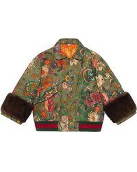 Gucci - Flora Snake Vintage Denim Bomber Jacket - Lyst