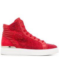 Philipp Plein - Rhinestone Embellished Hi-top Sneakers - Lyst