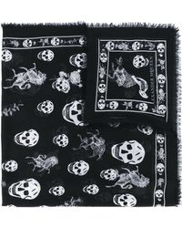 Alexander McQueen Écharpe à imprimé tête de mort - Noir