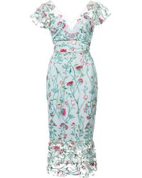 Marchesa notte - Floral Embroidered Midi Dress - Lyst