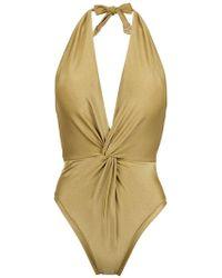 Martha Medeiros - Halterneck Twisted Detail Swimsuit - Lyst
