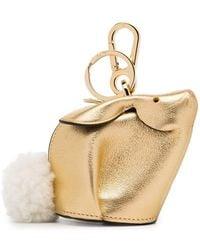 Loewe - Metallic Bunny Leather Shearling Tail Bag Charm - Lyst