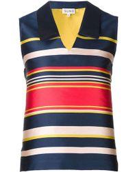 SUNO - Striped V-neck Top - Lyst