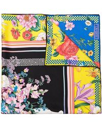 Versace - Multicoloured Floral-print Silk Scarf - Lyst