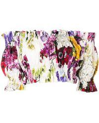 Dolce & Gabbana - Off-shoulder Floral Ruffled Top - Lyst