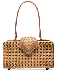 Mehry Mu - Brown Fey In The 50's Rattan Leather Box Bag - Lyst