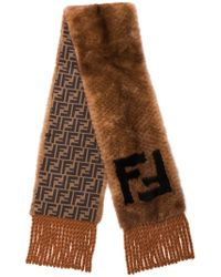 Fendi - Brown And Black Ff Logo Mink Scarf - Lyst