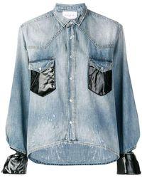 Gaëlle Bonheur - Contrasting Cuffs Denim Shirt - Lyst