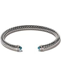 David Yurman - Cable Classic Blue Topaz And Diamond Cuff Bracelet - Lyst