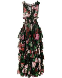 7fb22853982d Dolce & Gabbana - Floral Print Evening Dress - Lyst