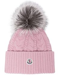 Moncler - Pink Wool Beanie Hat With Pom Pom - Lyst