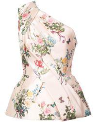 Monique Lhuillier - One-shoulder Floral Print Blouse - Lyst