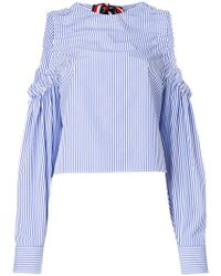 Tommy Hilfiger - Striped Cold Shoulder Blouse - Lyst