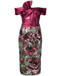 Notte by Marchesa - Bardot-style Floral Embellished Dress - Lyst