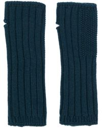 Holland & Holland Cashmere Knitted Mittens - Blue