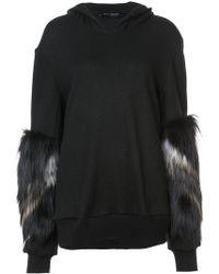 Sally Lapointe - Fur Sleeve Hoodie - Lyst