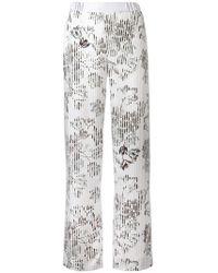 Ferragamo - Wide-leg Floral Trousers - Lyst