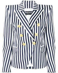 Balmain Striped Double Breasted Blazer - Blue
