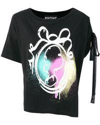 Boutique Moschino - Graffiti Print Lace Detail T-shirt - Lyst